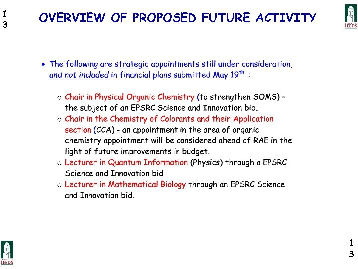 1 3 OVERVIEW OF PROPOSED FUTURE ACTIVITY 1 3