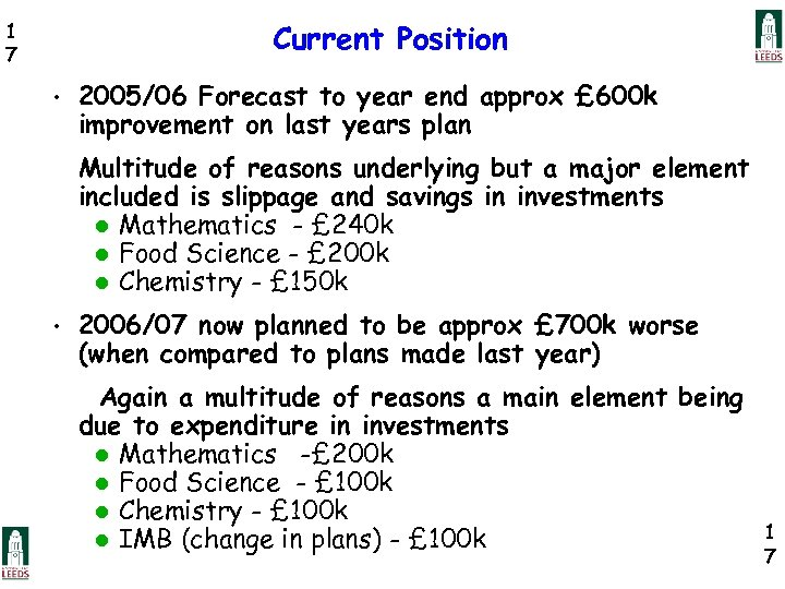 Current Position 1 7 • 2005/06 Forecast to year end approx £ 600 k