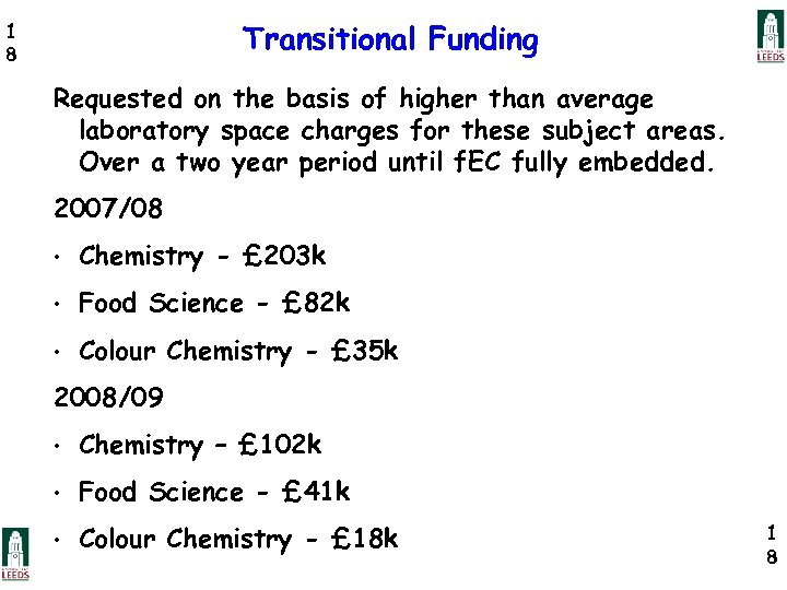 Transitional Funding 1 8 Requested on the basis of higher than average laboratory space