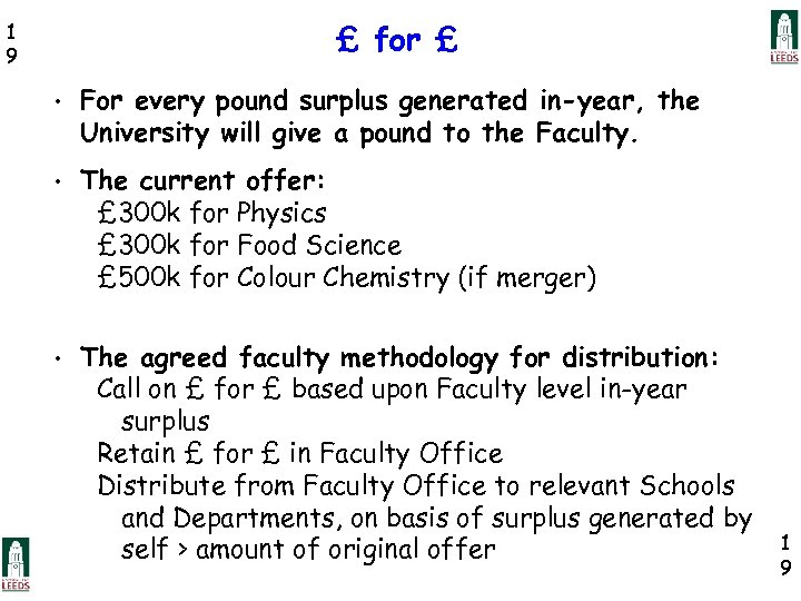 £ for £ 1 9 • For every pound surplus generated in-year, the University