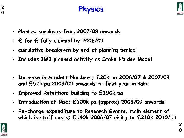 Physics 2 0 • Planned surpluses from 2007/08 onwards • £ for £ fully
