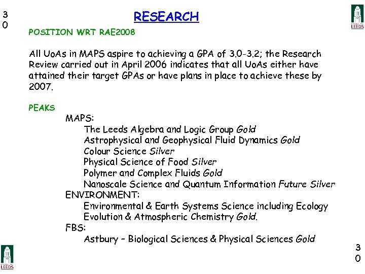 3 0 RESEARCH POSITION WRT RAE 2008 All Uo. As in MAPS aspire to