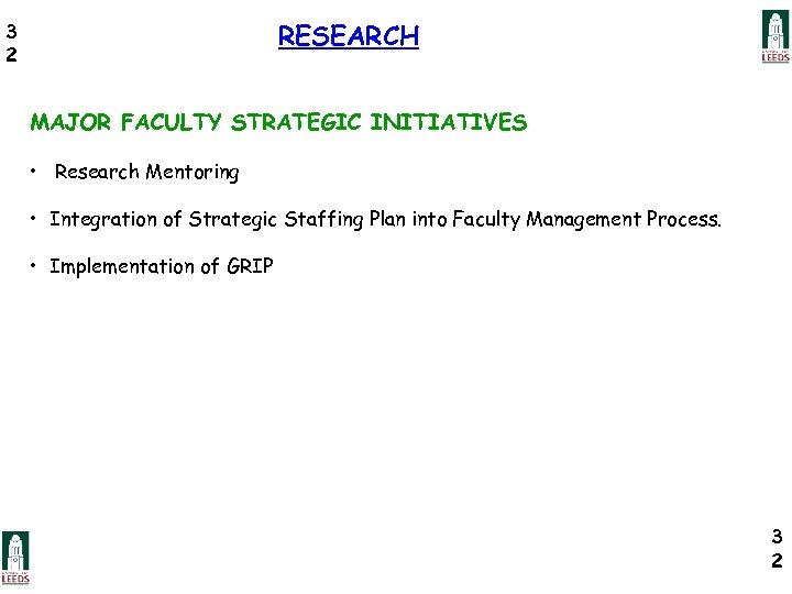 RESEARCH 3 2 MAJOR FACULTY STRATEGIC INITIATIVES • Research Mentoring • Integration of Strategic