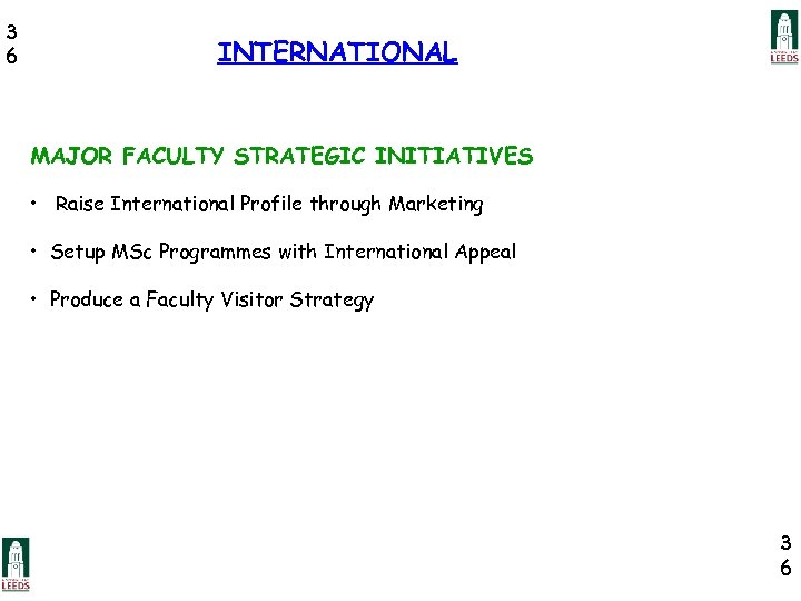 3 6 INTERNATIONAL MAJOR FACULTY STRATEGIC INITIATIVES • Raise International Profile through Marketing •