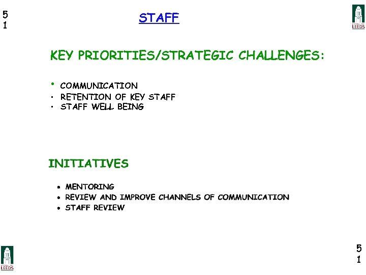 5 1 STAFF KEY PRIORITIES/STRATEGIC CHALLENGES: • COMMUNICATION • RETENTION OF KEY STAFF •