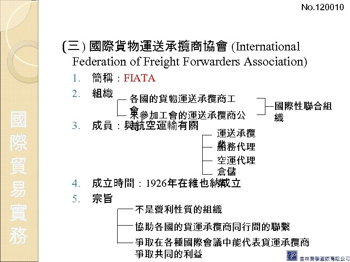 No. 120010 (三 ) 國際貨物運送承攬商協會 (International Federation of Freight Forwarders Association) 1. 2. 國