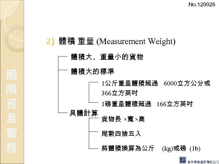 No. 120026 2) 體積 重量 (Measurement Weight) 體積大、重量小的貨物 國 際 貿 易 實 務