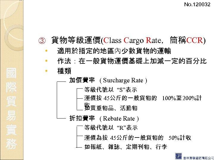 No. 120032 ③ 國 際 貿 易 實 務 • • • 貨物等級運價(Class Cargo
