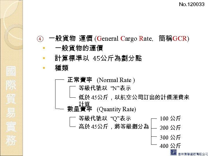 No. 120033 一般貨物 運價 (General Cargo Rate,簡稱GCR) • 一般貨物的運價 • 計算標準以 45公斤為劃分點 • 種類