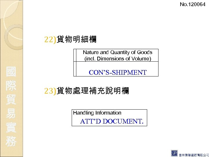 No. 120064 22)貨物明細欄 Nature and Quantity of Goods (incl. Dimensions of Volume) 國 際