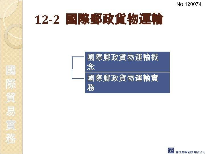 No. 120074 12 -2 國際郵政貨物運輸 國 際 貿 易 實 務 國際郵政貨物運輸概 念 國際郵政貨物運輸實