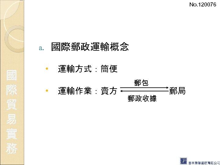 No. 120076 國際郵政運輸概念 a. 國 際 貿 易 實 務 • • 運輸方式:簡便 運輸作業:賣方