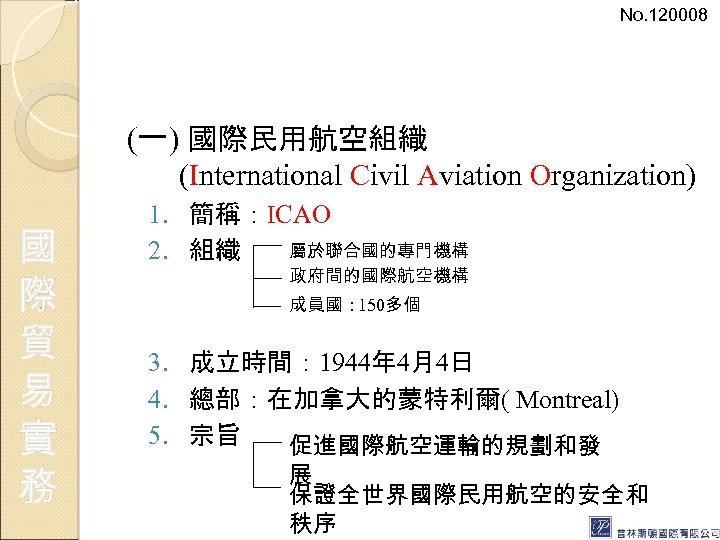 No. 120008 (一) 國際民用航空組織 (International Civil Aviation Organization) 國 際 貿 易 實 務