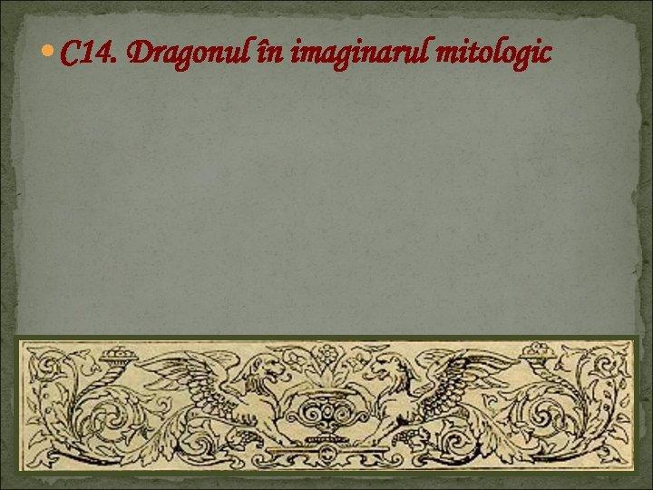 C 14. Dragonul în imaginarul mitologic