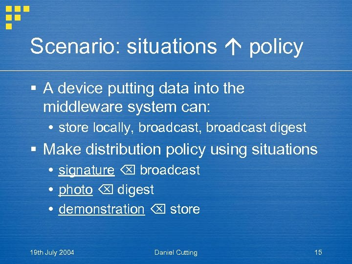 Scenario: situations policy § A device putting data into the middleware system can: store