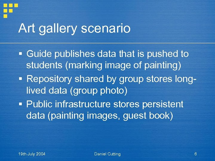 Art gallery scenario § Guide publishes data that is pushed to students (marking image
