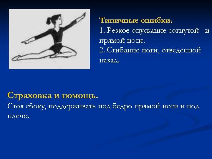 Типичные ошибки. 1. Резкое опускание согнутой и прямой ноги. 2. Сгибание ноги, отведенной назад.