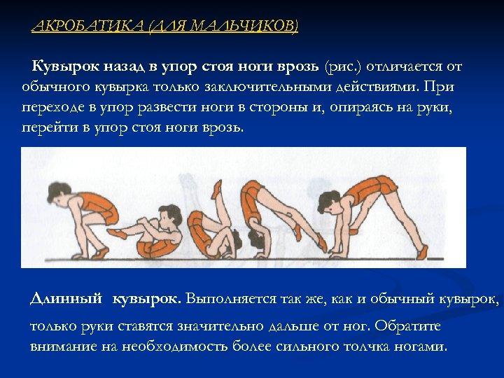 АКРОБАТИКА (ДЛЯ МАЛЬЧИКОВ) Кувырок назад в упор стоя ноги врозь (рис. ) отличается от