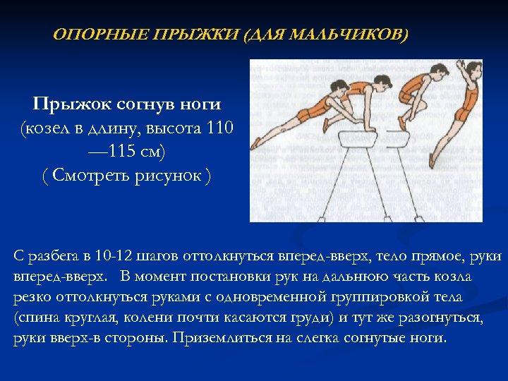 ОПОРНЫЕ ПРЫЖКИ (ДЛЯ МАЛЬЧИКОВ) Прыжок согнув ноги (козел в длину, высота 110 — 115