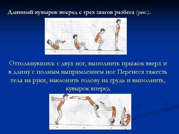 Длинный кувырок вперед с трех шагов разбега (рис. ). Оттолкнувшись с двух ног, выполнить