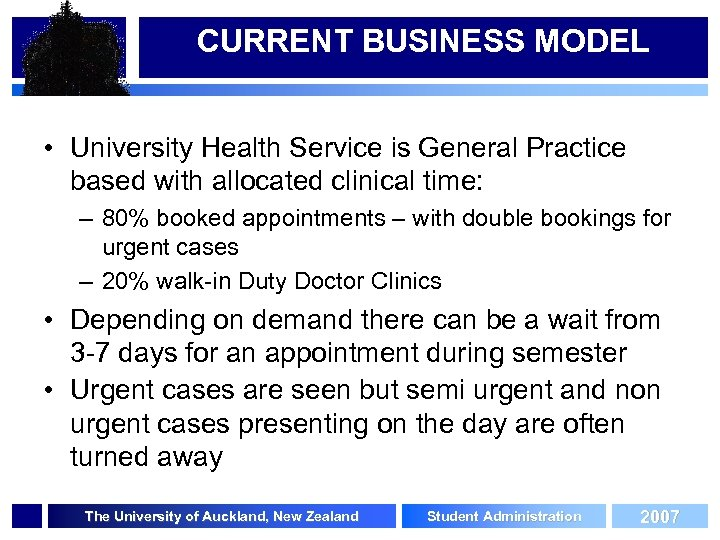 CURRENT BUSINESS MODEL • University Health Service is General Practice based with allocated clinical