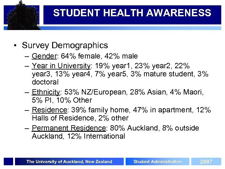STUDENT HEALTH AWARENESS • Survey Demographics – Gender: 64% female, 42% male – Year