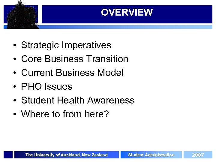 OVERVIEW • • • Strategic Imperatives Core Business Transition Current Business Model PHO Issues