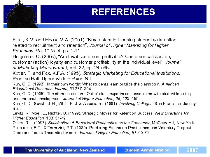 """REFERENCES Elliot, K. M. and Healy, M. A. (2001). """"Key factors influencing student satisfaction"""