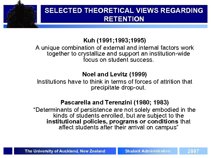 SELECTED THEORETICAL VIEWS REGARDING RETENTION Kuh (1991; 1993; 1995) A unique combination of external