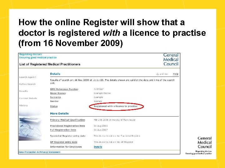 How the online Register will show that a doctor is registered with a licence