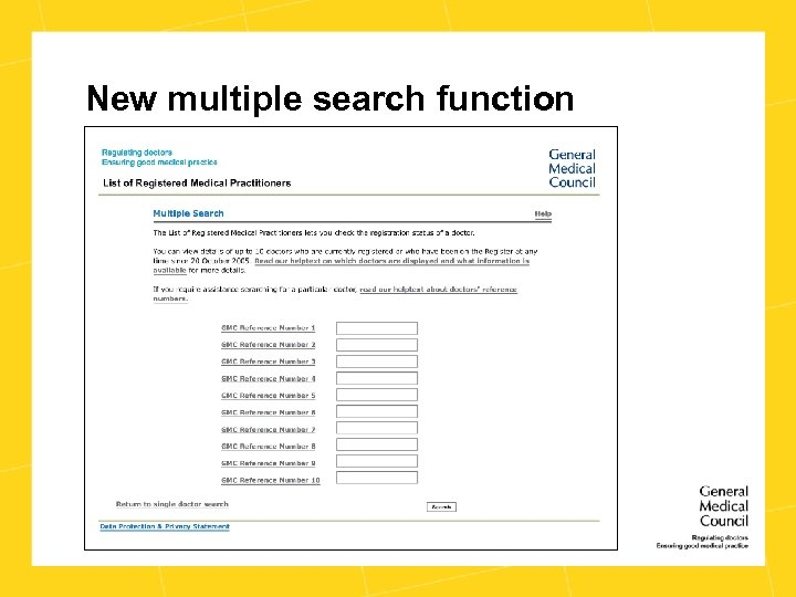New multiple search function