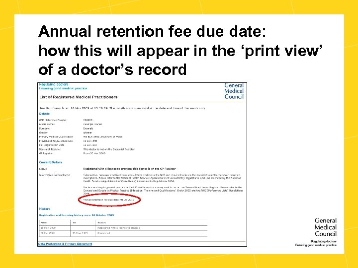 Annual retention fee due date: how this will appear in the 'print view' of