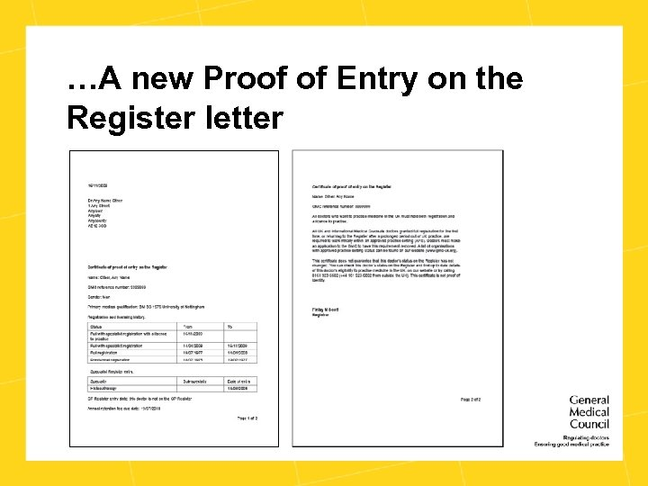 …A new Proof of Entry on the Register letter