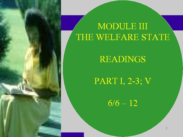 MODULE III THE WELFARE STATE READINGS PART I, 2 -3; V 6/6 – 12