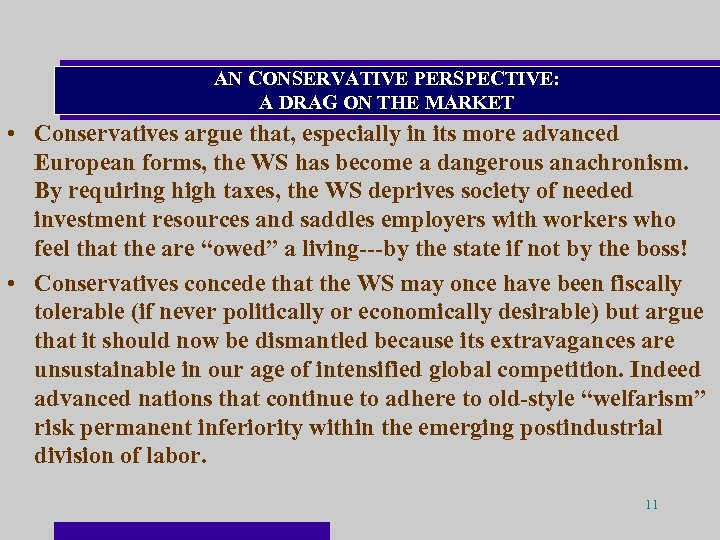 AN CONSERVATIVE PERSPECTIVE: A DRAG ON THE MARKET • Conservatives argue that, especially in