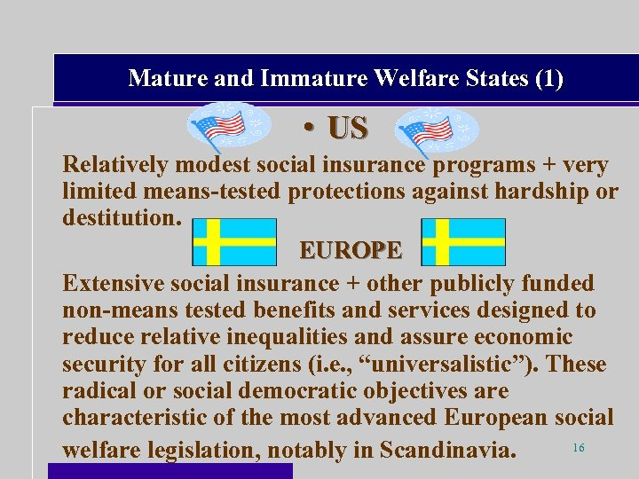 Mature and Immature Welfare States (1) • US Relatively modest social insurance programs +