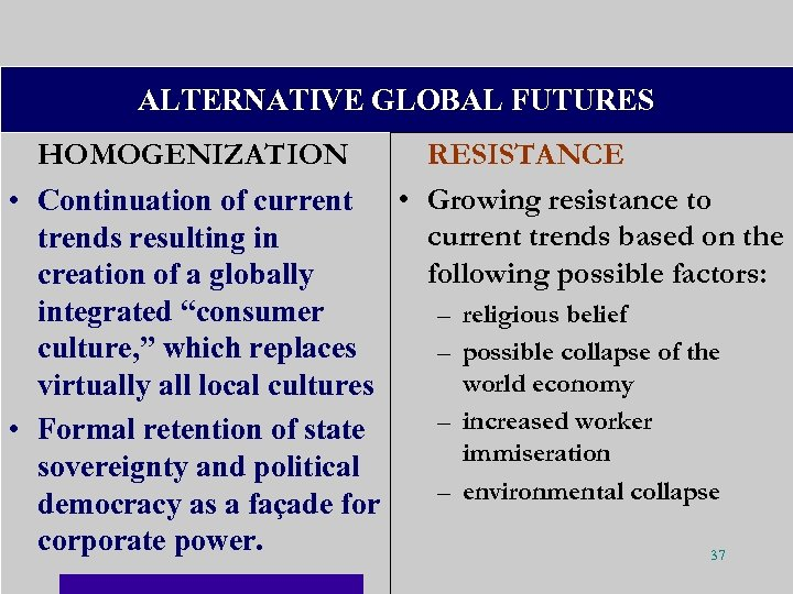 ALTERNATIVE GLOBAL FUTURES HOMOGENIZATION RESISTANCE • Continuation of current • Growing resistance to current
