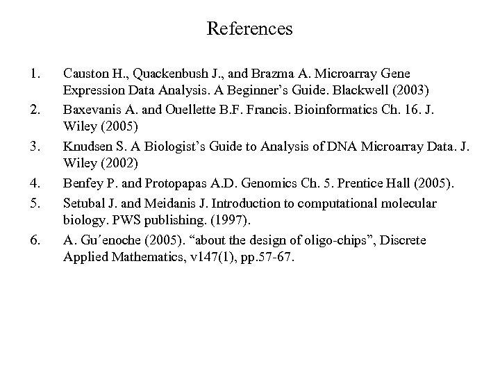 References 1. 2. 3. 4. 5. 6. Causton H. , Quackenbush J. , and