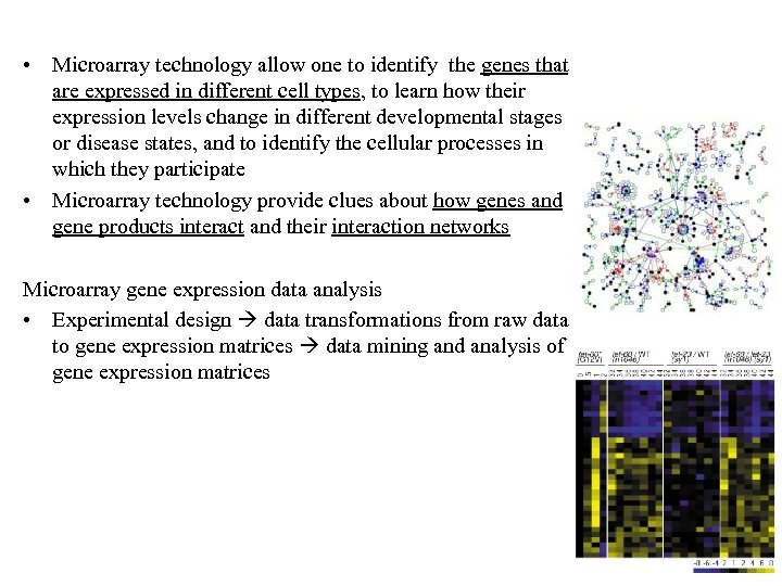 • Microarray technology allow one to identify the genes that are expressed in