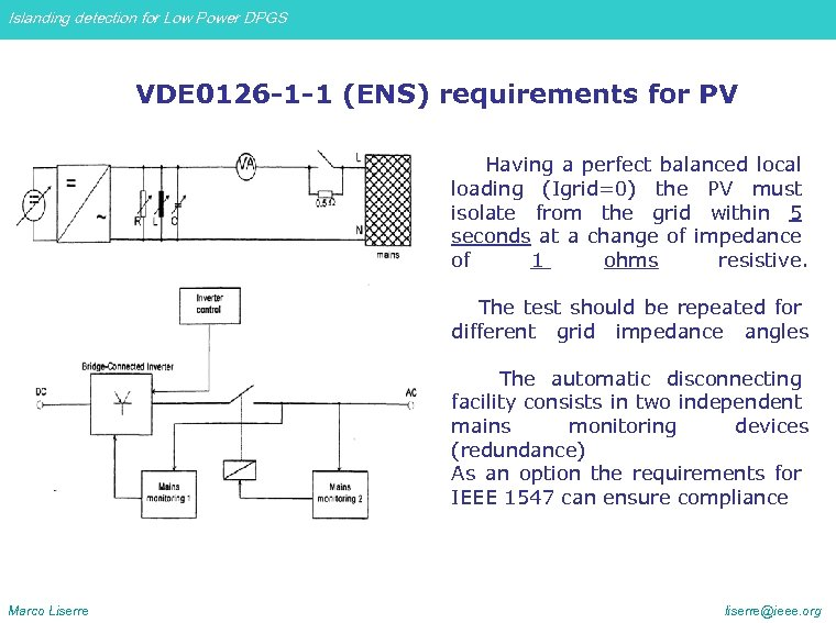 Islanding detection for Low Power DPGS VDE 0126 -1 -1 (ENS) requirements for PV