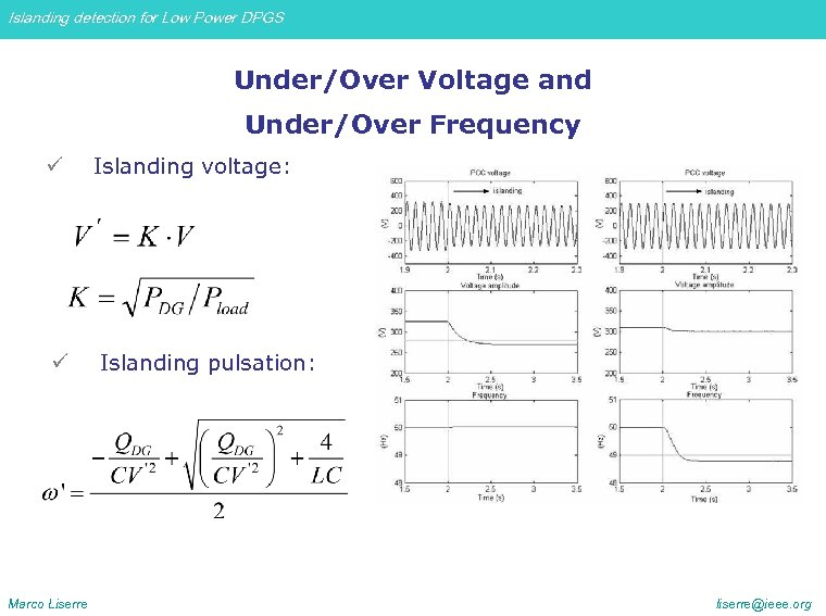 Islanding detection for Low Power DPGS Under/Over Voltage and Under/Over Frequency ü Islanding voltage: