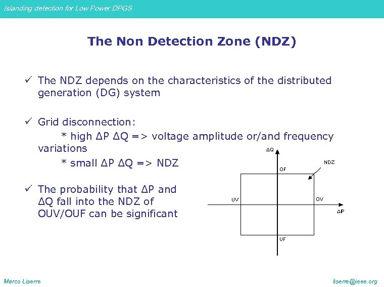Islanding detection for Low Power DPGS The Non Detection Zone (NDZ) ü The NDZ