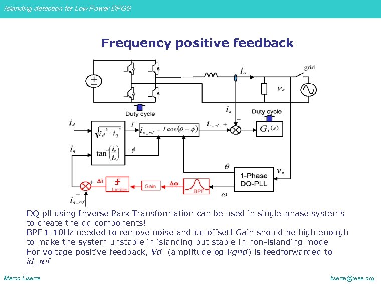 Islanding detection for Low Power DPGS Frequency positive feedback DQ pll using Inverse Park
