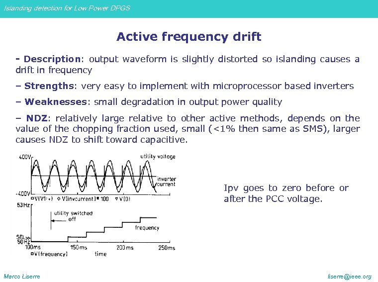 Islanding detection for Low Power DPGS Active frequency drift - Description: output waveform is