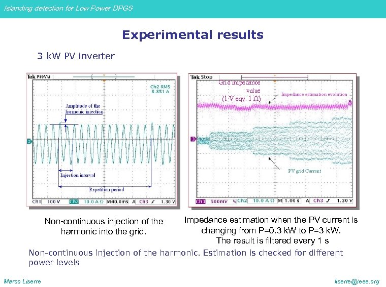 Islanding detection for Low Power DPGS Experimental results 3 k. W PV inverter Grid