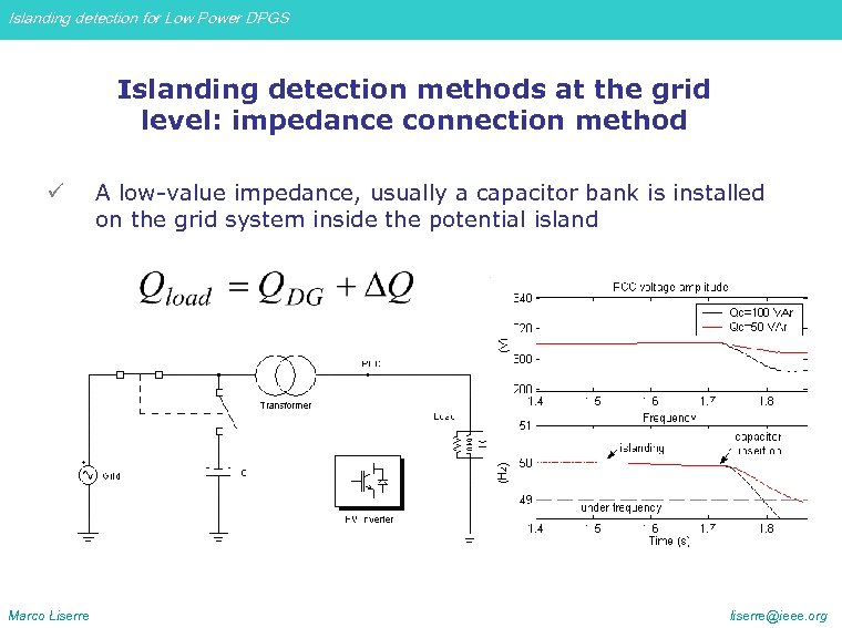 Islanding detection for Low Power DPGS Islanding detection methods at the grid level: impedance