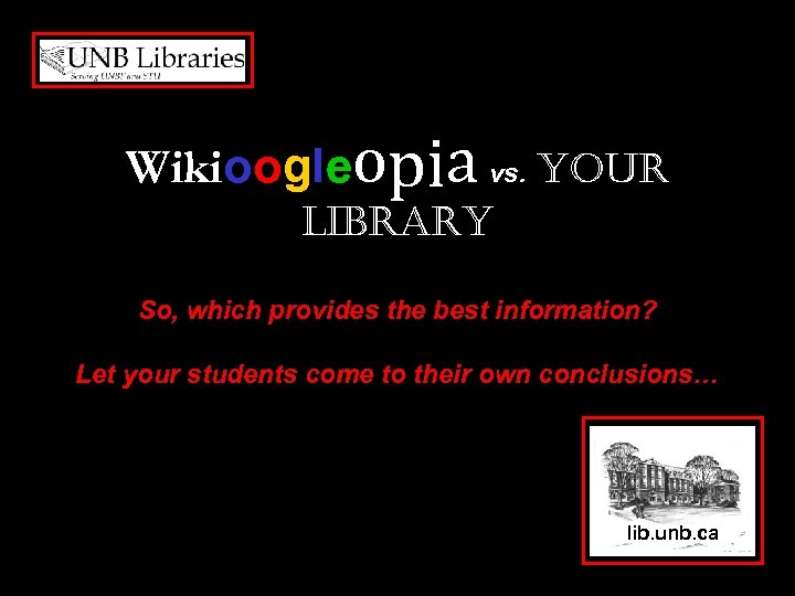 Wikioogleopia vs. your Library So, which provides the best information? Let your students come