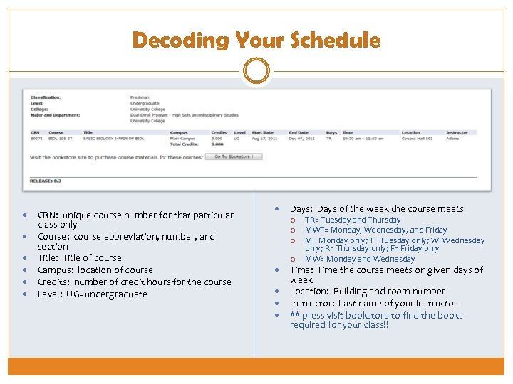 Decoding Your Schedule CRN: unique course number for that particular class only Course: course