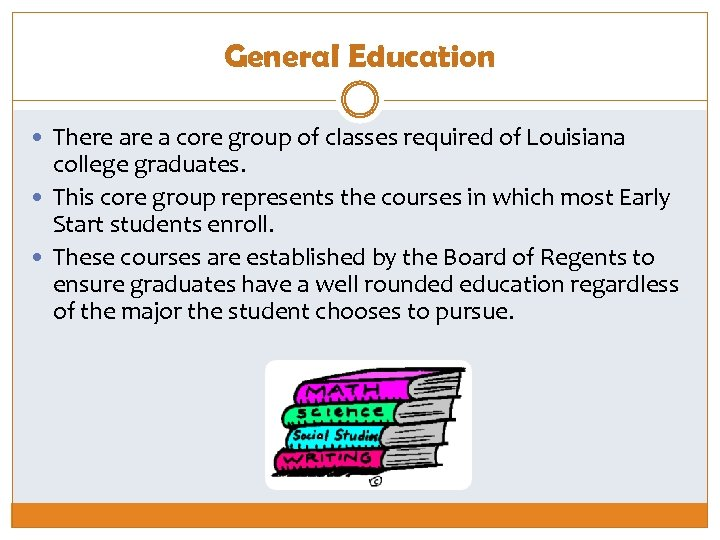General Education There a core group of classes required of Louisiana college graduates. This