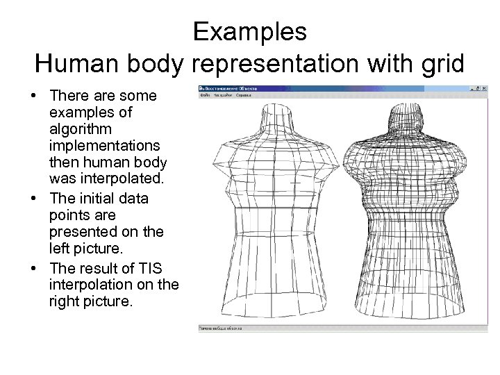 Examples Human body representation with grid • There are some examples of algorithm implementations